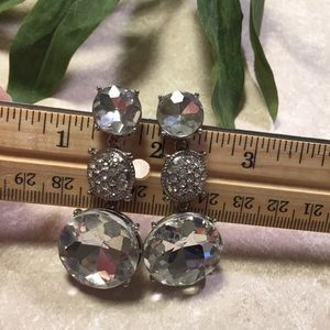Silver tone jewel 3 tiered statement earrings